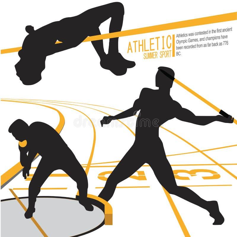 Vettore dell'illustrazione di azione di sport degli atleti illustrazione di stock