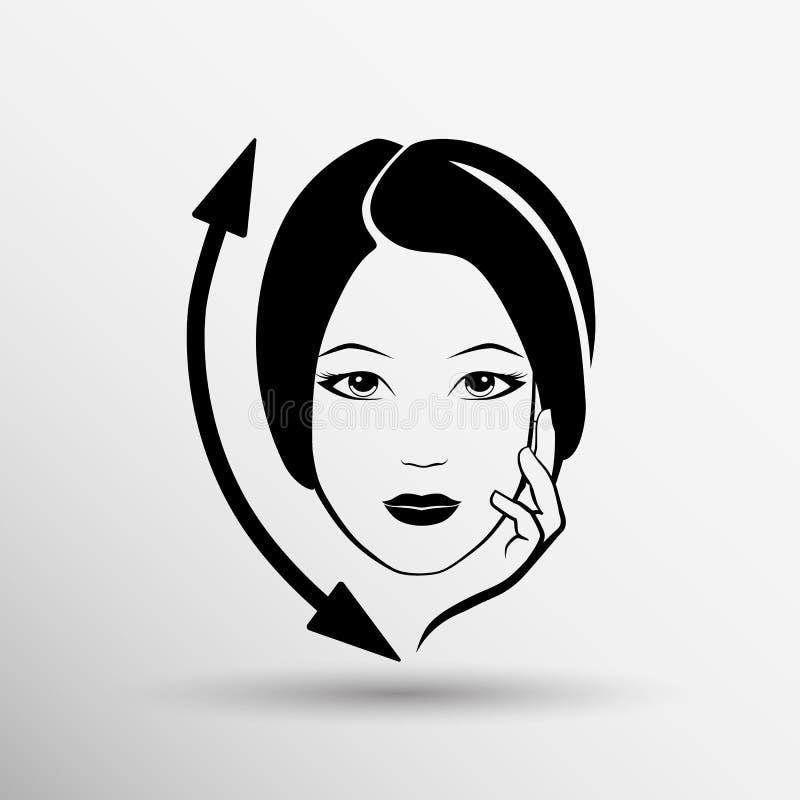 Vettore dell'illustrazione di bellezza della ragazza di modo del fronte della donna royalty illustrazione gratis