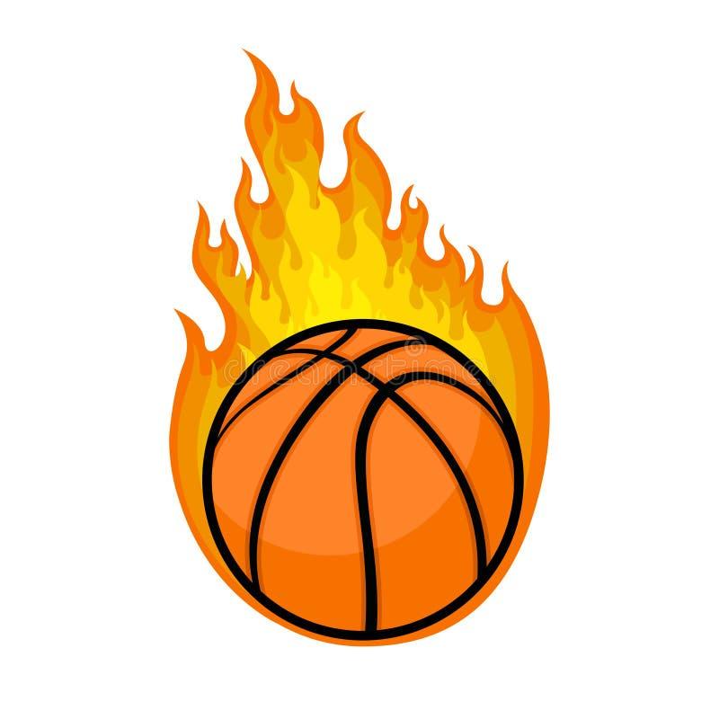 Vettore dell'illustrazione di pallacanestro con l'elemento del fuoco illustrazione di stock