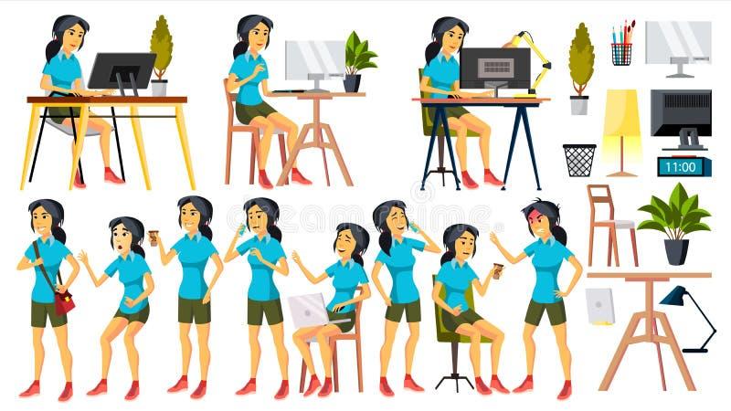 Vettore dell'impiegato di concetto Donna Impiegato felice, servo, impiegato Coreano, vietnamita Essere umano giapponese di affari illustrazione di stock