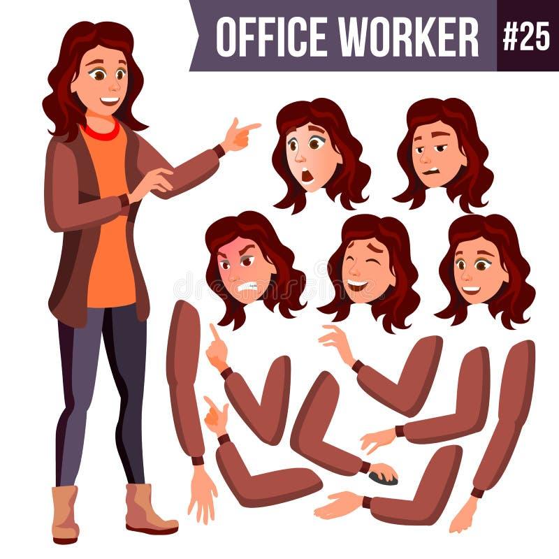 Vettore dell'impiegato di concetto Donna Funzionario, impiegato Uomo d'affari Female Signora Face Emotions Insieme di animazione illustrazione di stock