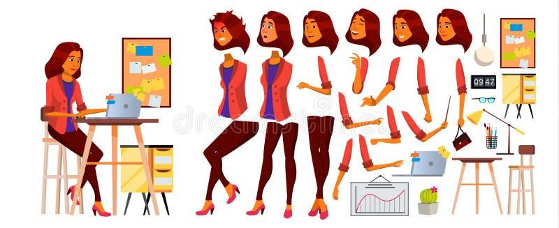 Vettore dell'impiegato di concetto Donna Riuscito ufficiale, impiegato, servo Arabo, lavoratrice saudita di affari Affronti le em illustrazione di stock