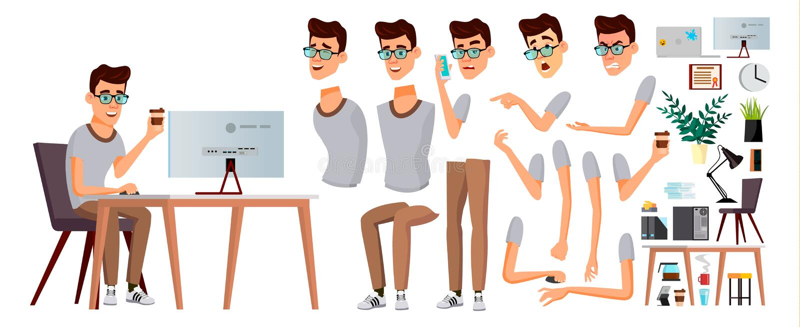 Vettore dell'impiegato di concetto Emozioni, gesti Insieme della creazione di animazione Persona di affari carriera Impiegato mod illustrazione di stock