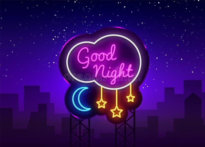 Vettore dell'insegna al neon della buona notte Testo al neon della buona notte, modello di progettazione, progettazione moderna d illustrazione di stock