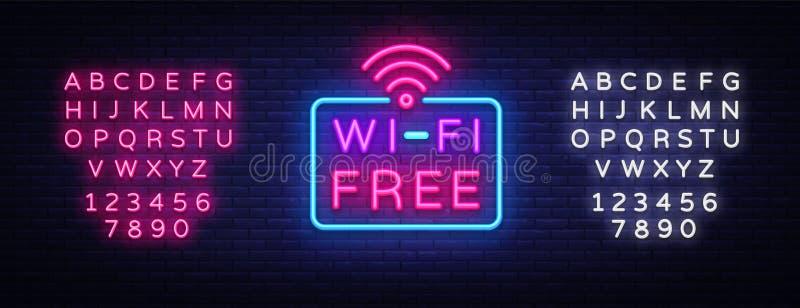 Vettore dell'insegna al neon di Wifi Insegna al neon del modello di progettazione del testo di Wifi, insegna leggera, insegna al  illustrazione vettoriale