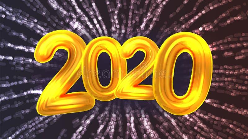 Vettore dell'insegna del fuoco d'artificio del partito da 2020 buoni anni illustrazione vettoriale