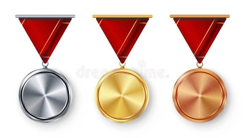 Vettore dell'insieme in bianco delle medaglie del campione Primo realistico del metallo, secondo terzo premio di disposizione Con illustrazione vettoriale