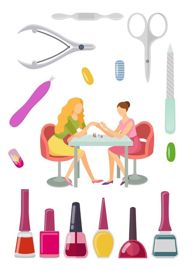 Vettore dell'insieme del manicure e di strumenti del manicure del salone della stazione termale royalty illustrazione gratis