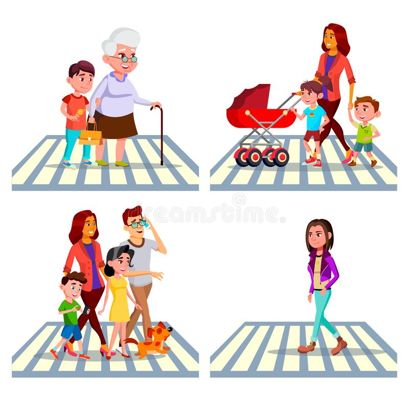 Vettore dell'insieme della strada del passaggio pedonale del carattere royalty illustrazione gratis