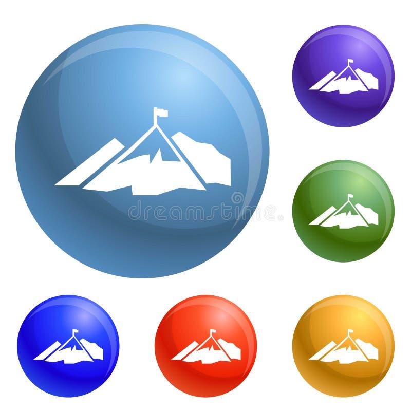 Vettore dell'insieme delle icone della bandiera della montagna di salita royalty illustrazione gratis