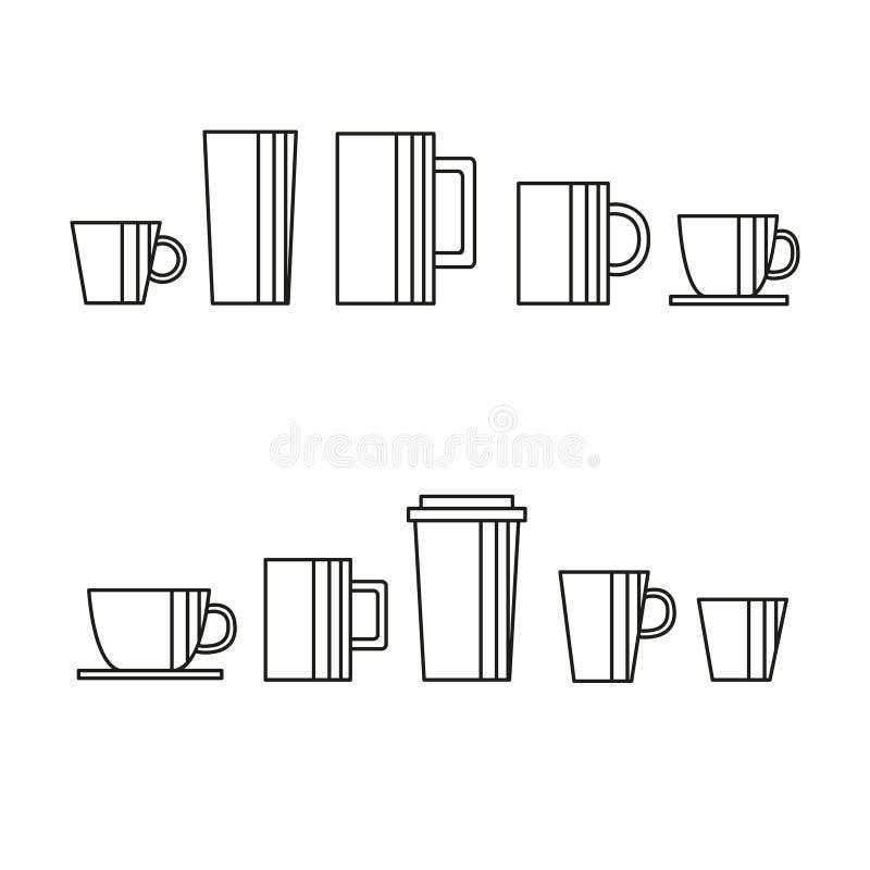 Vettore dell'insieme delle icone delle tazze e di vetro Linea arte, stoviglie per i caffè royalty illustrazione gratis