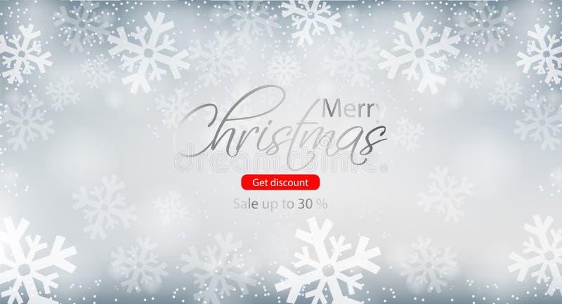 Vettore dell'opuscolo di vendita di inverno di Buon Natale Ambiti di provenienza dei fiocchi di neve illustrazione vettoriale