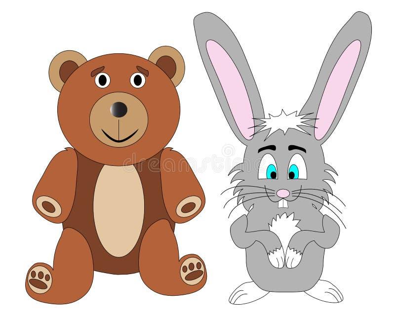 Vettore dell'orso e del coniglio dell'orsacchiotto illustrazione vettoriale