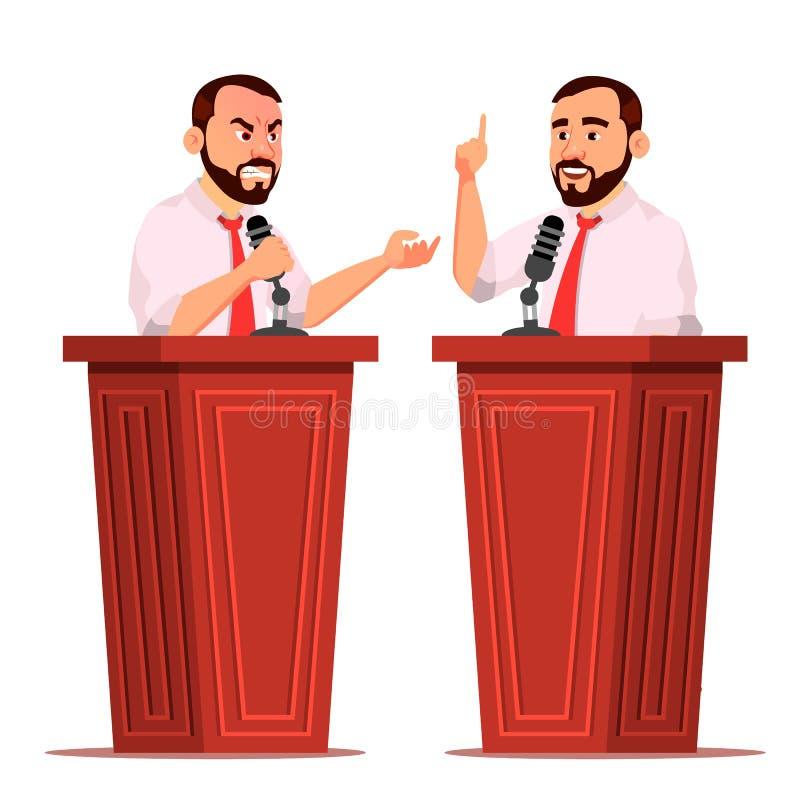 Vettore dell'uomo dell'altoparlante Podio con il microfono Dare discorso pubblico dibattiti presentazione Personaggio dei cartoni illustrazione di stock
