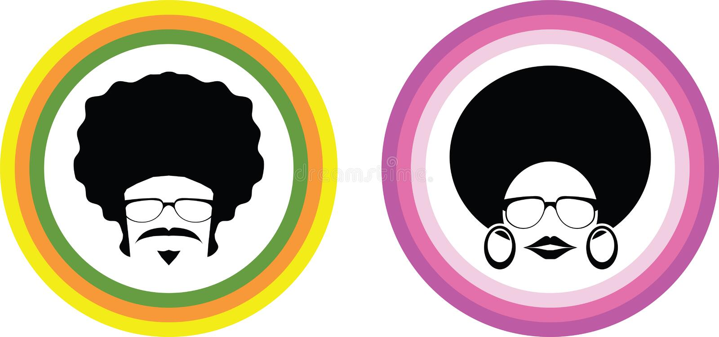 Vettore dell'uomo e della donna di afro royalty illustrazione gratis