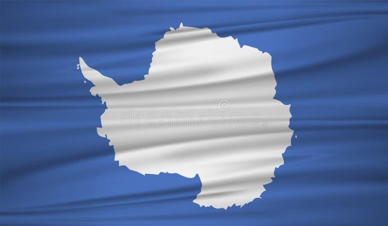 vettore della bandiera dell'Antartide Blowig della bandiera dell'Antartide di vettore nel vento illustrazione di stock
