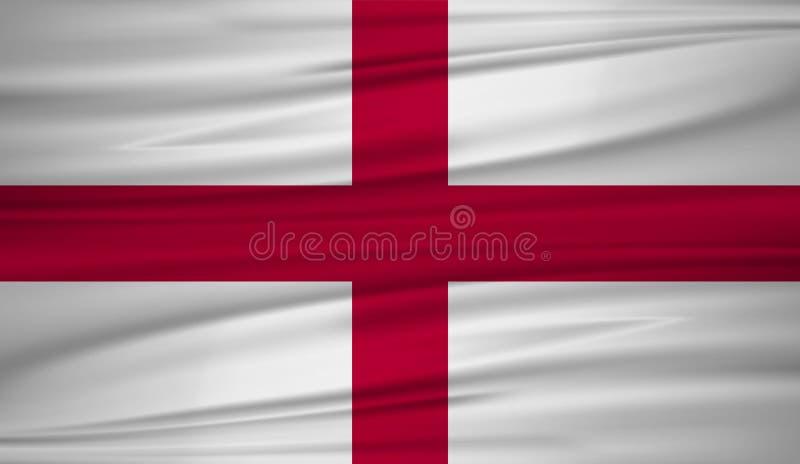 Vettore della bandiera dell'Inghilterra Vector la bandiera del blowig dell'Inghilterra nel vento Il simbolo dello stato su tessut royalty illustrazione gratis