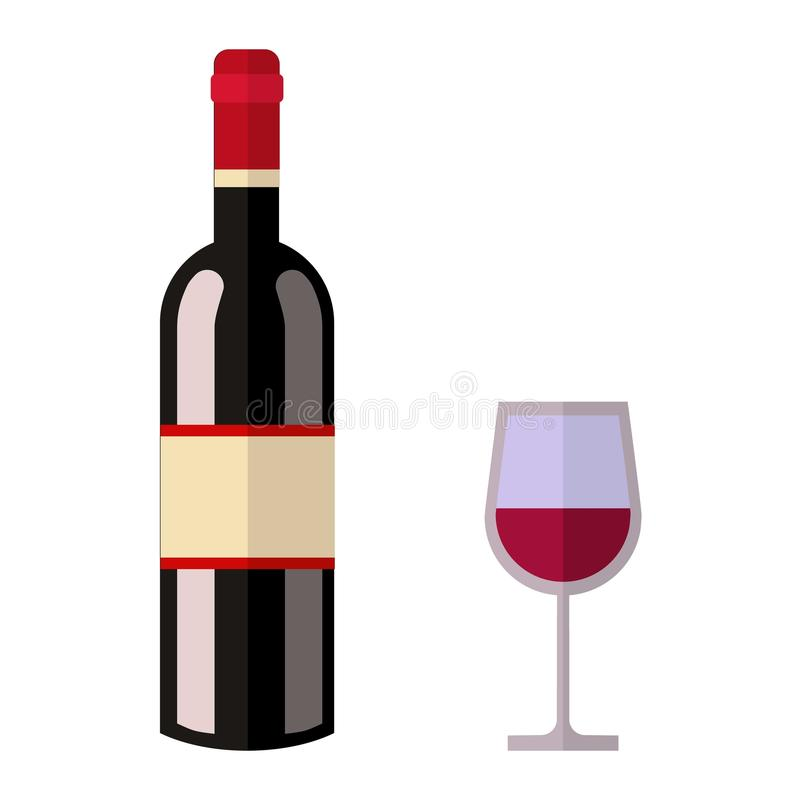 Vettore della bottiglia di vino della bevanda dell'alcool illustrazione vettoriale