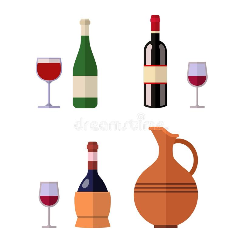 Vettore della bottiglia di vino della bevanda dell'alcool illustrazione di stock