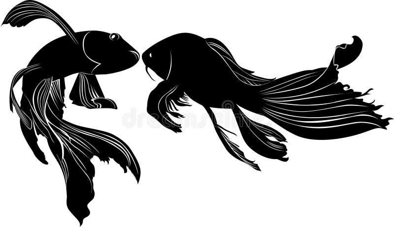 Insieme del pesce tropicale in bianco e nero illustrazione for Carpa pesce rosso