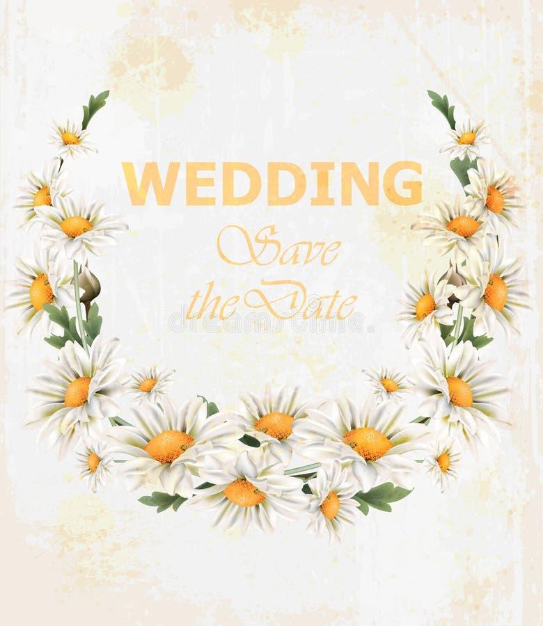 Vettore della carta della corona di nozze dei fiori della camomilla Bei stili dell'annata della struttura della molla illustrazione vettoriale
