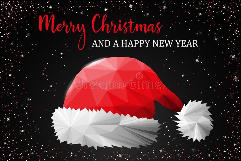 Vettore della carta del cappello di Santa Claus di Buon Natale royalty illustrazione gratis