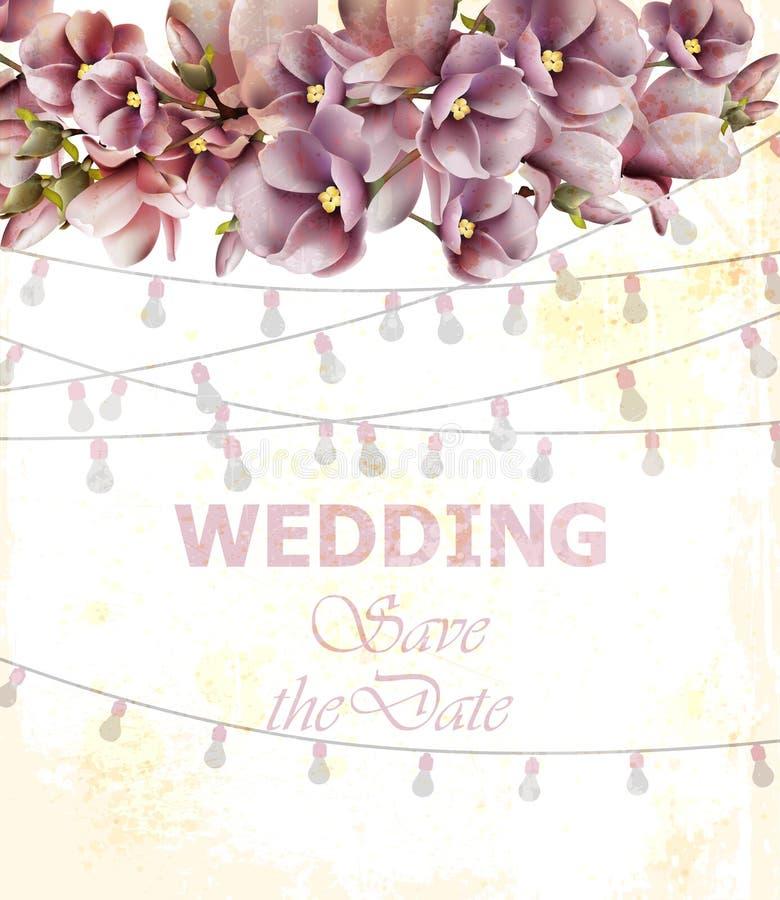 Vettore della carta dell'invito di nozze Primavera floreale ed ambiti di provenienza delle luci illustrazione di stock