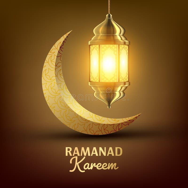 Vettore della cartolina d'auguri di Ramadan Kareem islam Lampada progettazione della lanterna Mubarak Night Ramazan Greeting Desi illustrazione di stock
