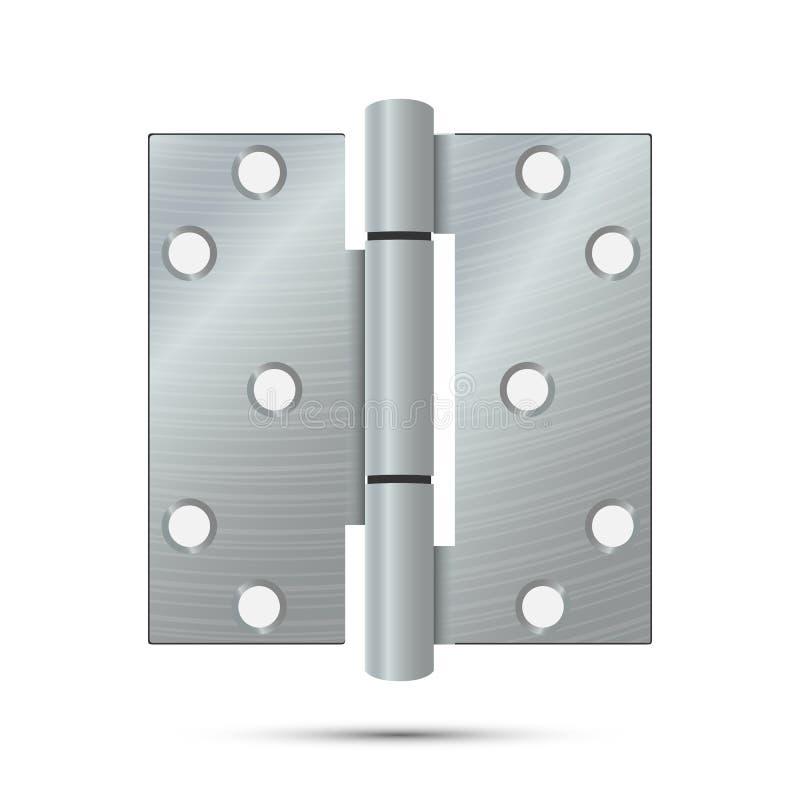 Vettore della cerniera di porta Ferramenta classica ed industriale isolata su fondo bianco Icona semplice della cerniera del meta royalty illustrazione gratis