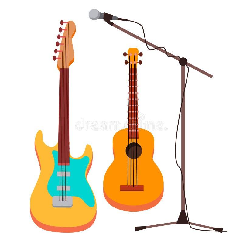 Vettore della chitarra Elettrico, classico Microfono con il supporto strumento musicale della corda Illustrazione isolata del fum illustrazione di stock