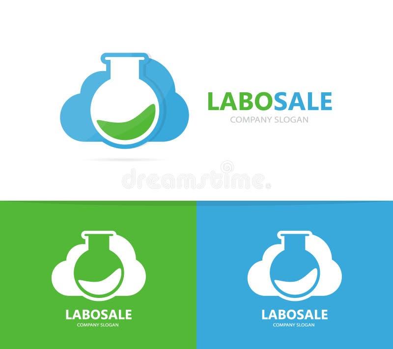 Vettore della combinazione di logo della nuvola e della boccetta Laboratorio e simbolo o icona di stoccaggio Scienza e logotype u illustrazione di stock