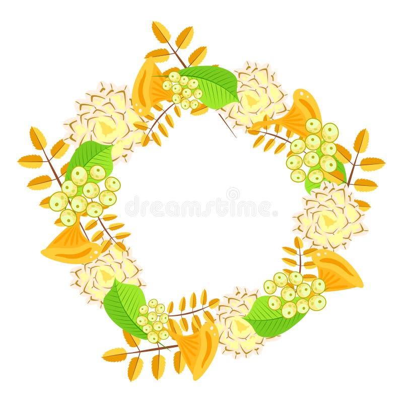 Vettore della corona del mazzo floreale di autunno royalty illustrazione gratis