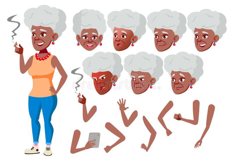Vettore della donna anziana nero Afroamericano Persona senior Invecchiato, anziani Gente adulta casuale Emozioni del fronte, vari illustrazione di stock