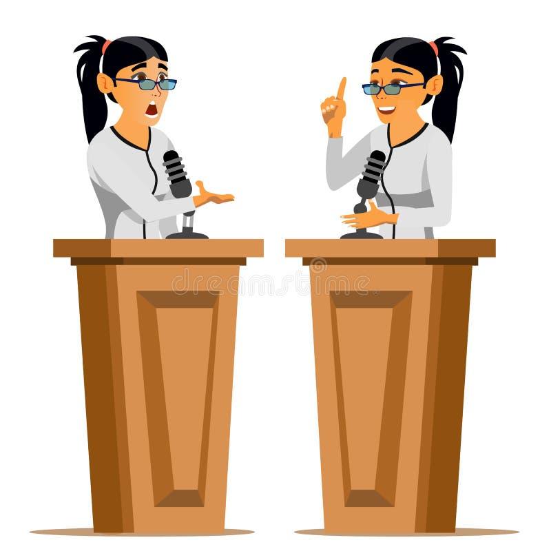 Vettore della donna dell'altoparlante Donna di affari, Politico Giving Speech rostrum candidato Personaggio dei cartoni animati p illustrazione di stock