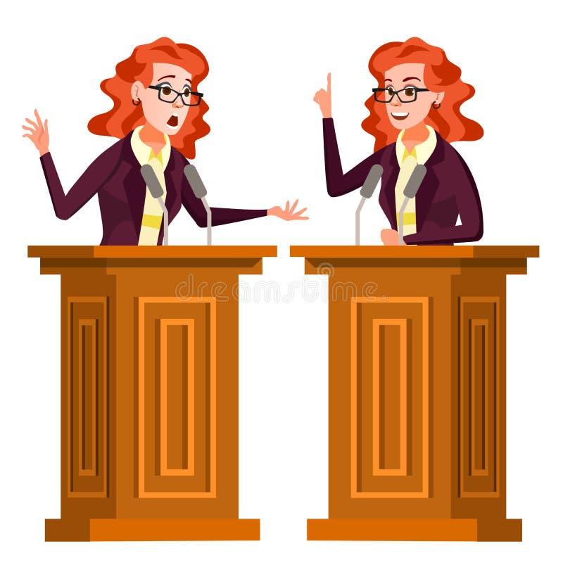 Vettore della donna dell'altoparlante Podio con il microfono Dare discorso pubblico dibattiti presentazione Fumetto piano isolato royalty illustrazione gratis