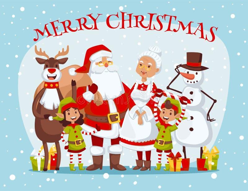 Vettore della famiglia della moglie di Santa Claus e del fumetto dei bambini royalty illustrazione gratis