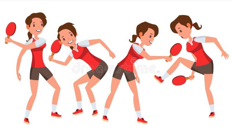 Vettore della femmina del tennis della Tabella Riceve la palla Giocatore stilizzato Illustrazione piana isolata del personaggio d royalty illustrazione gratis