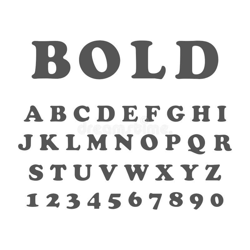 Vettore della fonte audace stilizzata e dell'alfabeto illustrazione vettoriale