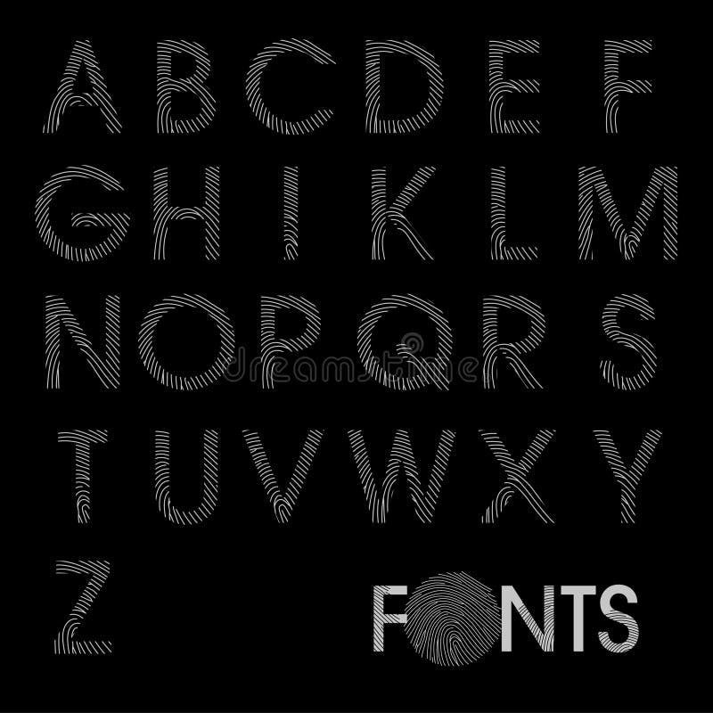 Vettore della fonte di alfabeto regolare dell'impronta digitale migliore immagini stock libere da diritti
