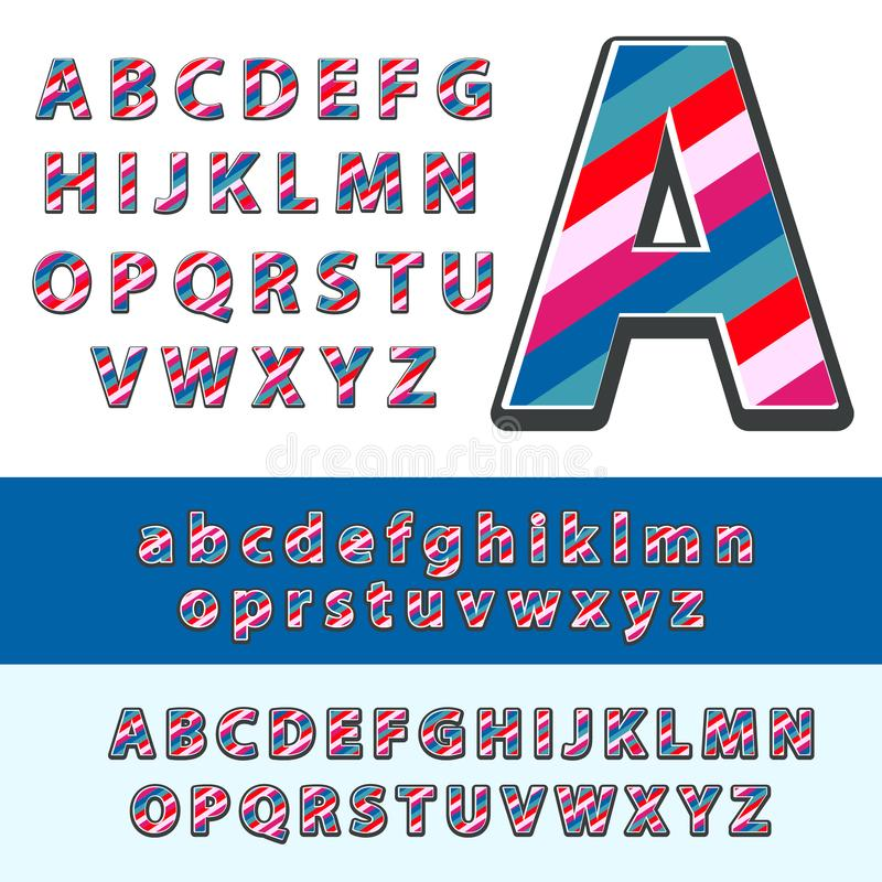 Vettore della fonte variopinta moderna e dell'alfabeto illustrazione vettoriale