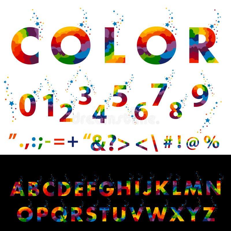 Vettore della fonte variopinta stilizzata e dell'alfabeto illustrazione di stock