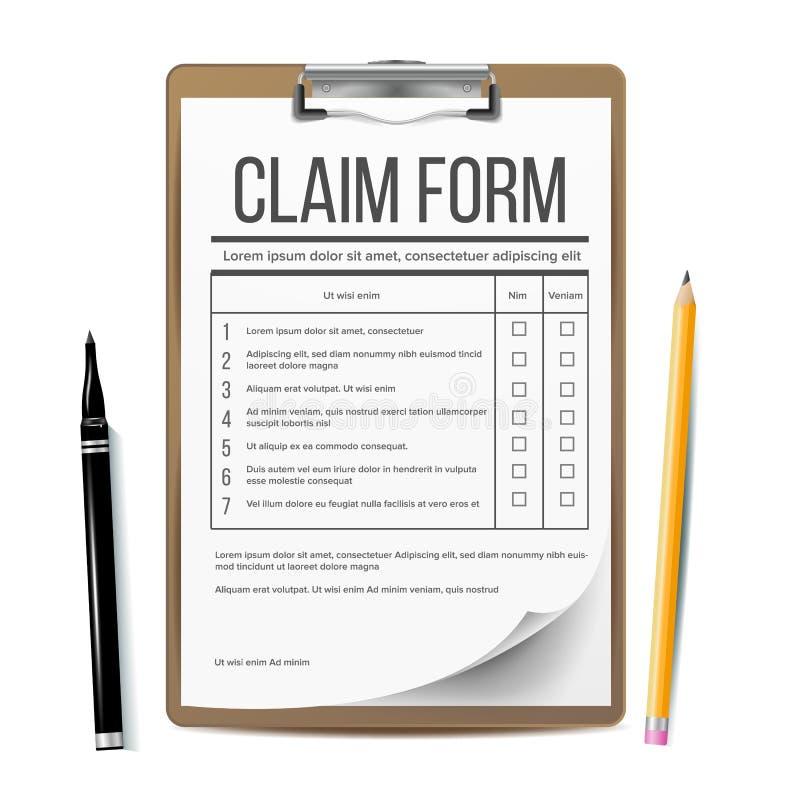 Vettore della forma di reclamo Documento di affari Concetto di assicurazione e di incidente Illustrazione realistica illustrazione vettoriale