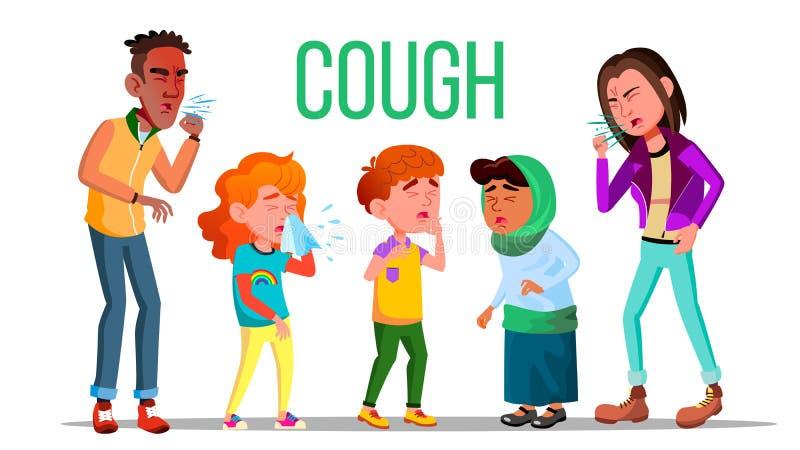 Vettore della gente di tosse Tosse del concetto Bambino malato, anni dell'adolescenza Persona di starnuto Virus, malattia Illustr illustrazione vettoriale