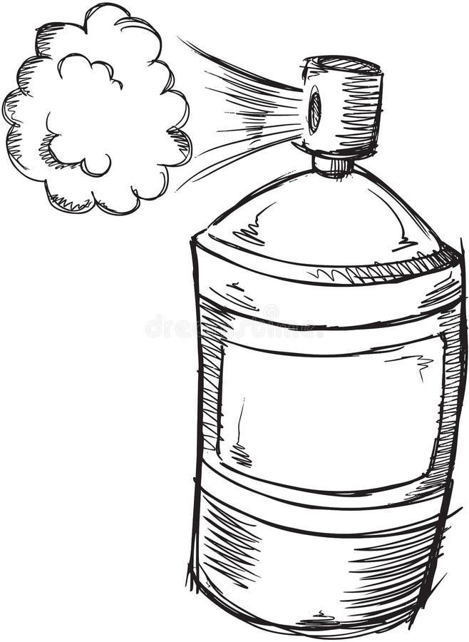 Vettore della latta di spruzzo di scarabocchio illustrazione di stock
