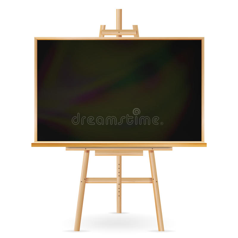 Vettore della lavagna della scuola Struttura di legno Lavagna vuota classica di istruzione Illustrazione realistica isolata illustrazione di stock