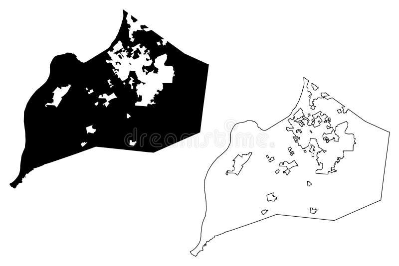 Vettore della mappa della città di Louisville illustrazione vettoriale