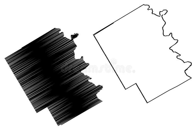 Vettore della mappa della contea di Bosque, il Texas illustrazione vettoriale
