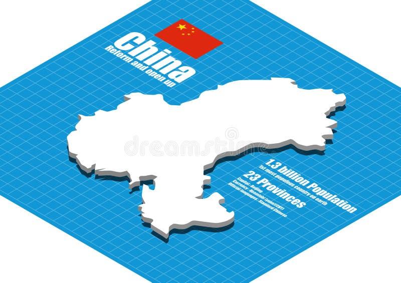 Vettore della mappa della Cina illustrazione di stock