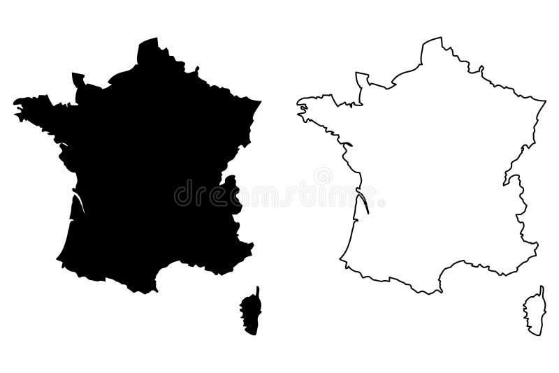 Vettore della mappa della Francia royalty illustrazione gratis