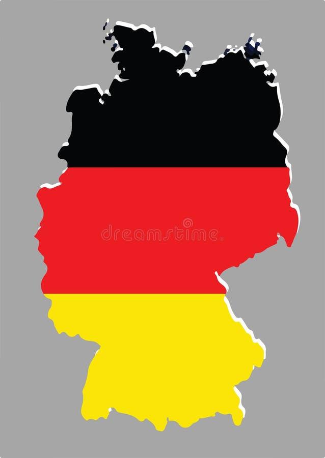 Vettore della mappa della germania con la bandiera tedesca - Bandiera della pagina di colorazione della germania ...